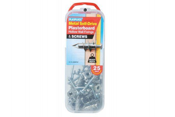 Plasplugs MSDF 257 Metal Self-Drill Fixings & Screws Pack of 25