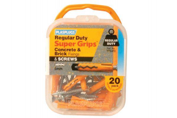 Plasplugs YPS 472 Solid Wall Super Grips™ Fixings Yellow & Screws (20)