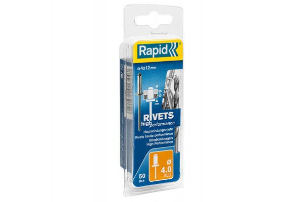 Rapid High Performance Rivets 4 x 12mm (Blister of 50)
