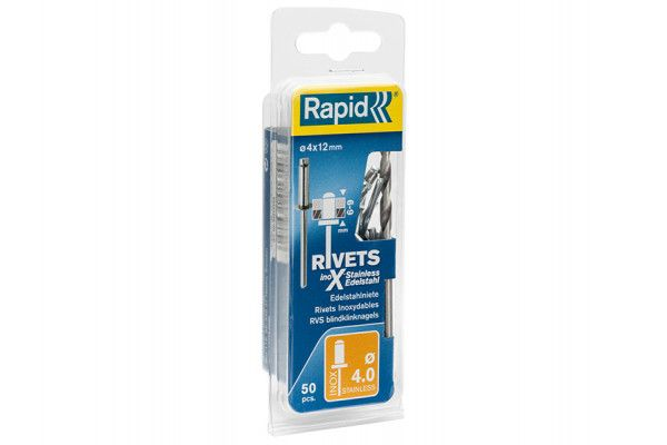 Rapid Stainless Steel Rivets 4 x 12mm (Blister of 50)