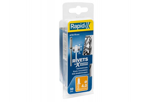 Rapid Stainless Steel Rivets 4 x 14mm (Blister of 50)