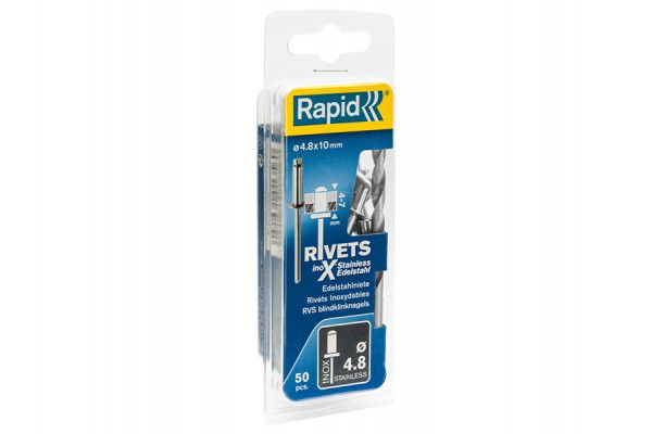 Rapid Stainless Steel Rivets 4.8 x 10mm (Blister of 50)
