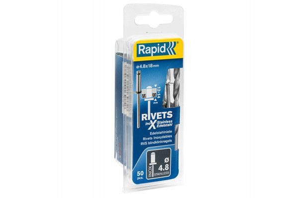 Rapid Stainless Steel Rivets 4.8 x 18mm (Blister of 50)