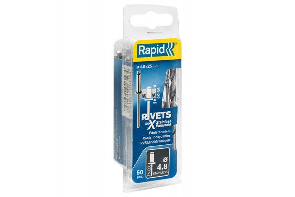 Rapid Stainless Steel Rivets 4.8 x 25mm (Blister of 50)