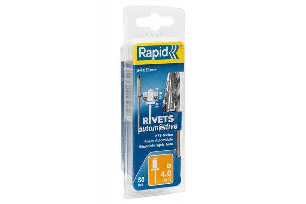 Rapid Automotive Rivets 4 x 12mm Steel (Blister of 50)