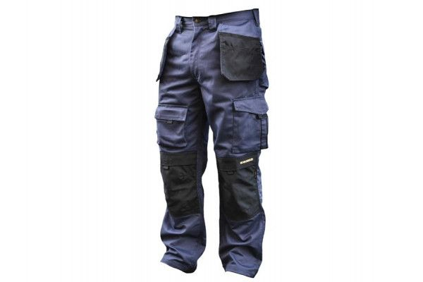 Roughneck Clothing Black & Blue Holster Work Trousers Waist 38in Leg 33in