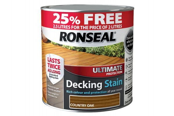 Ronseal Ultimate Deck Stain Country Oak 2 Litre + 25%