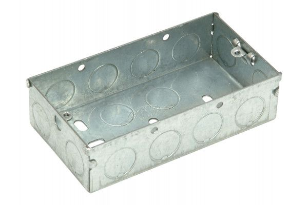 SMJ Metal Back Box 2 Gang 25mm Depth - Carded
