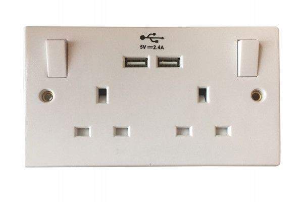 SMJ Switched Socket 2-Gang 13A with 2 x USB