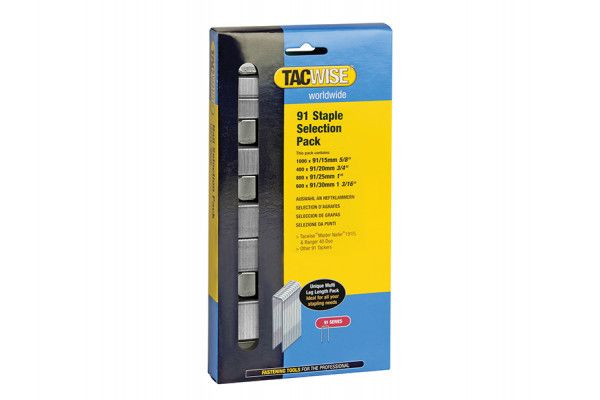 Tacwise 91 Narrow Crown Divergent Point Staples Selection - Electric Tackers Pack 2800