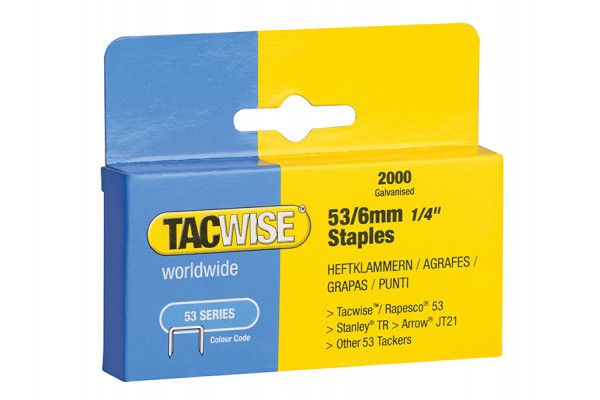 Tacwise 53 Light-Duty Staples 6mm (Type JT21, A) Pack 2000