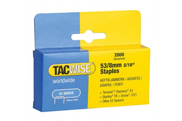 Tacwise 53 Light-Duty Staples 8mm (Type JT21, A) Pack 2000