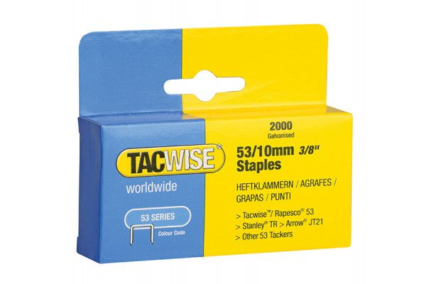 Tacwise 53 Light-Duty Staples 10mm (Type JT21, A) Pack 2000