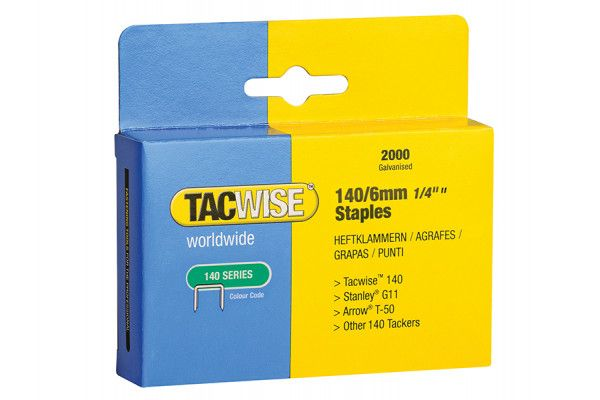 Tacwise 140 Heavy-Duty Staples 6mm (Type T50, G) Pack 2000