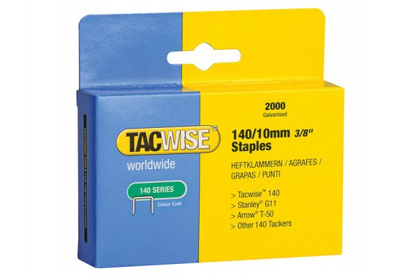 Tacwise 140 Heavy-Duty Staples 10mm (Type T50, G) Pack 2000