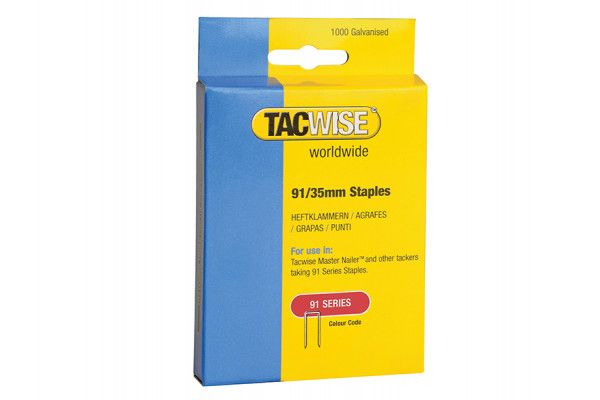 Tacwise 91 Narrow Crown Staples 35mm - Electric Tackers Pack 1000