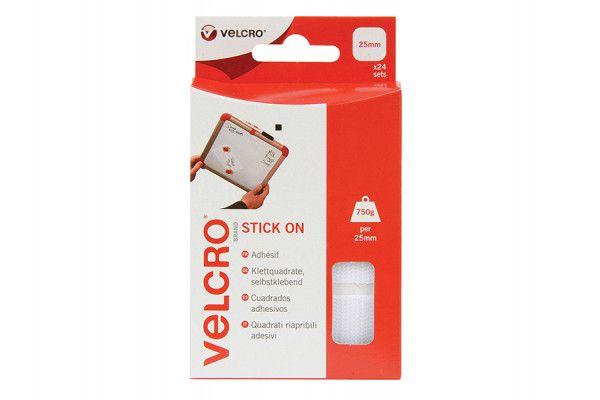 VELCRO® Brand VELCRO® Brand Stick On Squares 25mm White Pack of 24