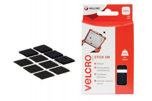 VELCRO® Brand VELCRO® Brand Stick On Squares 25mm Black Pack of 24