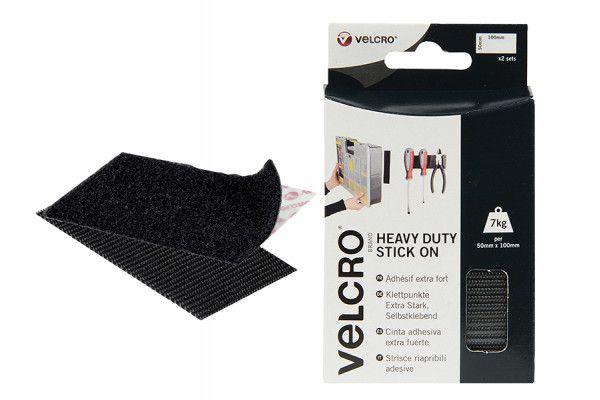 VELCRO® Brand VELCRO® Brand Heavy-Duty Stick On Strips (2) 50 x 100mm Black