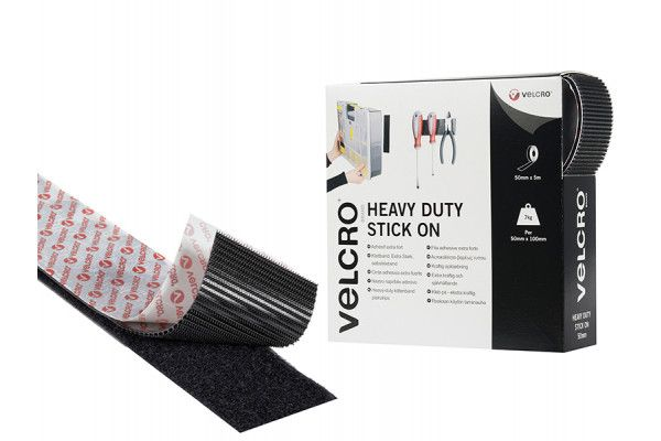 VELCRO® Brand VELCRO® Brand Heavy-Duty Stick On Tape 50mm x 5m Black